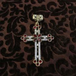 Cruz de plata y circonitas roja