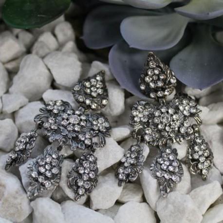 Pendientes de a tres en plata y piedra blanca